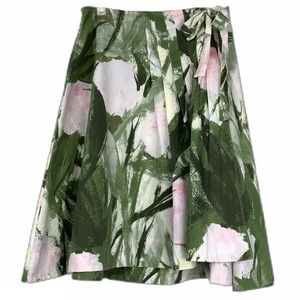 Anthropologie Odille A-Line Floral Wrap Skirt 10